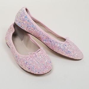 J. Crew pink glitter ballet flat shoes 7.5